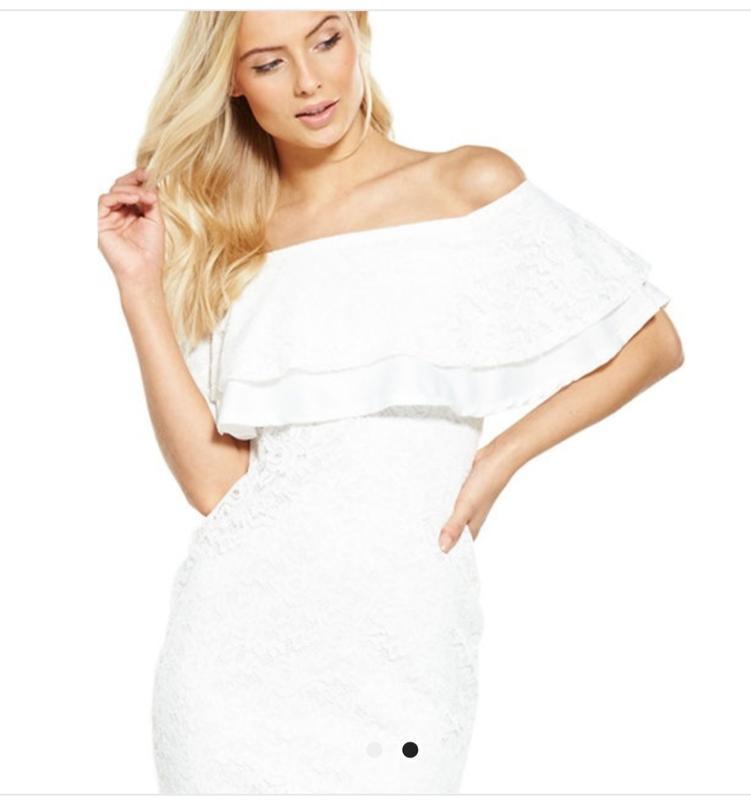 Платье белое новое кружевное размер 10 - Фото 2