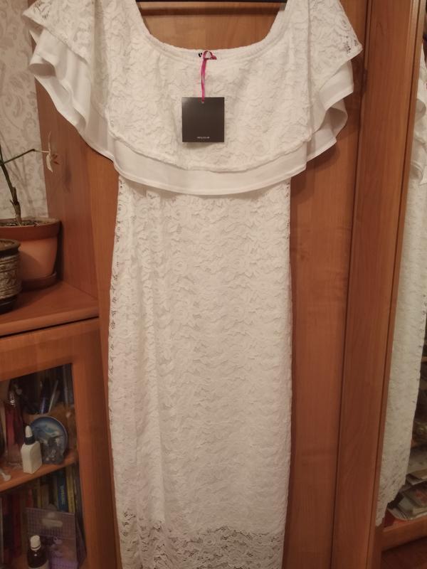 Платье белое новое кружевное размер 10 - Фото 3