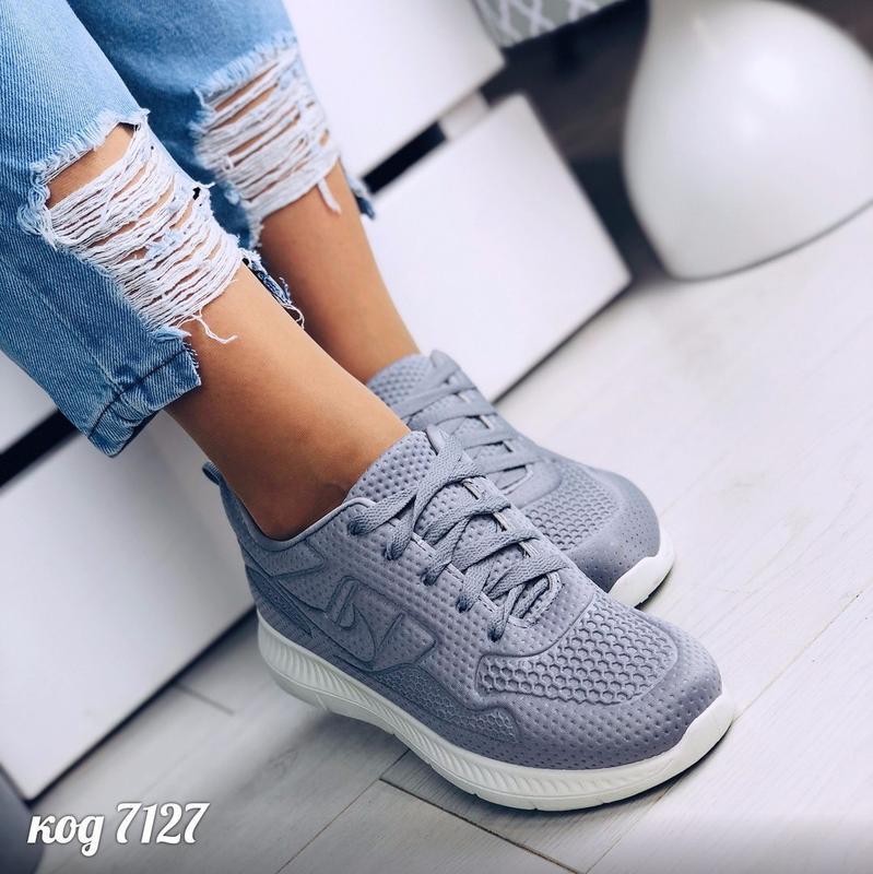 Лёгкие и мягкие серые текстильные кроссовки