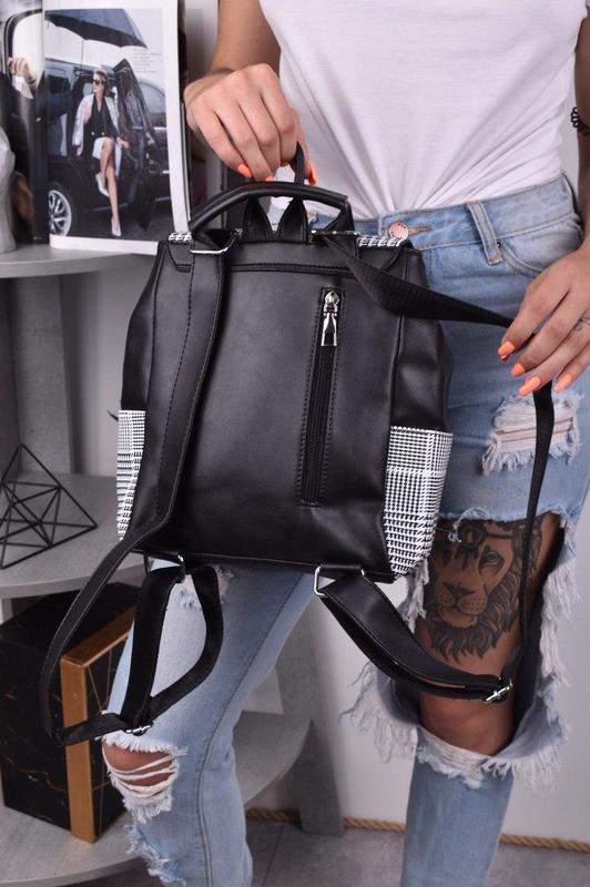 Рюкзак сумка трансформер женский городской для девушек черный - Фото 3
