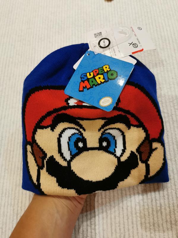 Двойная демисезонная шапка mario для мальчика 3-6 лет