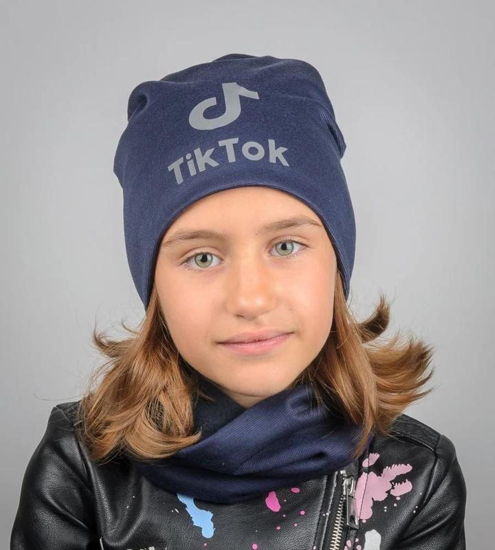 Комплект шапка и хомут, темно синий цвет, утепленный, принт св...