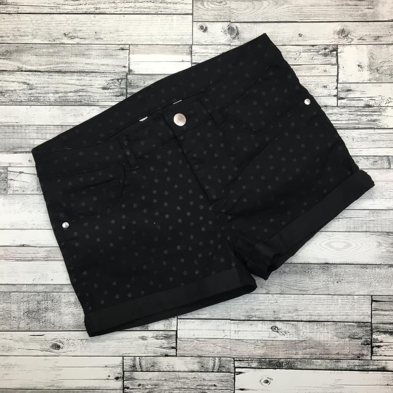 -70%! джинсовые чёрные шорты из эластичного денима, со звёздами