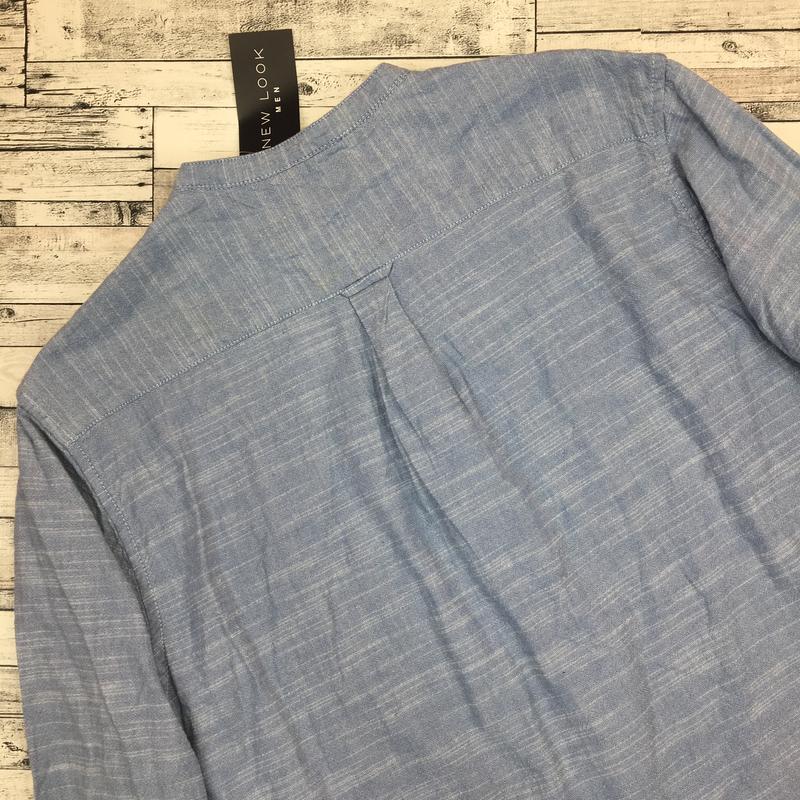 Хлопковая мужская рубашка, джинсовая рубаха, натуральная - Фото 3