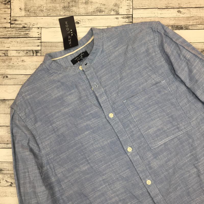 Хлопковая мужская рубашка, джинсовая рубаха, натуральная - Фото 5