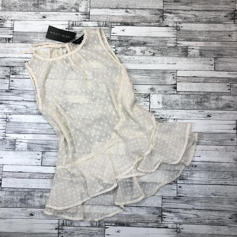 Нежная невероятно красивая шифоновая блуза с воланом, топ с рю... - Фото 5