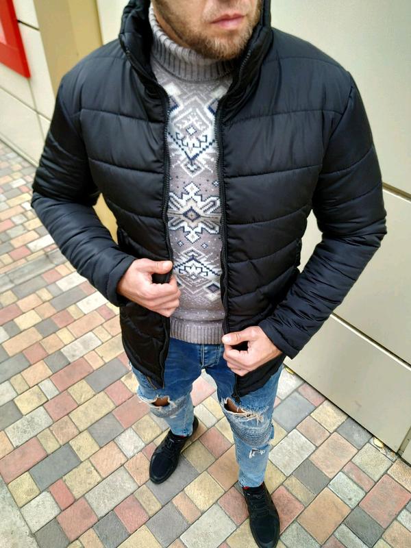 Мужская зимняя куртка без капюшона - Фото 3