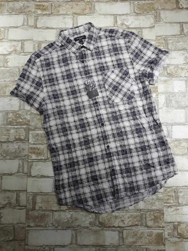 Мужская хлопковая рубашка в клетку