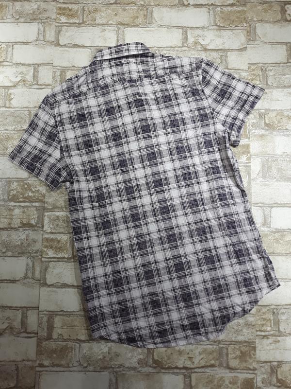 Мужская хлопковая рубашка в клетку - Фото 2