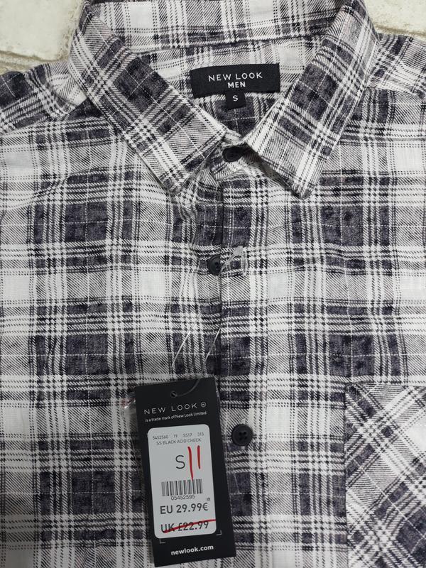 Мужская хлопковая рубашка в клетку - Фото 3