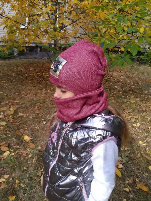Комплект шапка+хомут детская - Фото 2