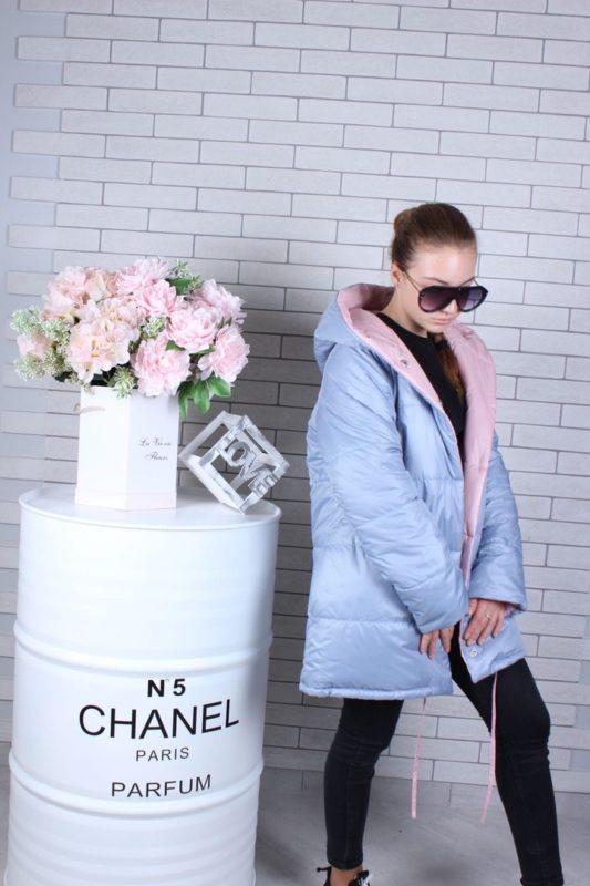Пальто куртка двухсторонняя теплая серо-розовая