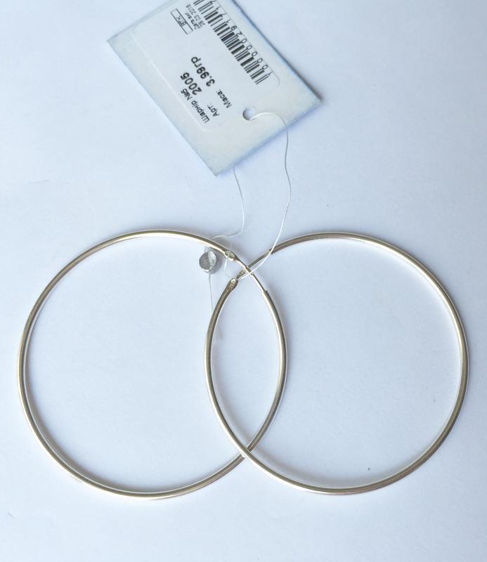 Новые красивые серебряные серьги кольца диаметр 50 мм серебро ...