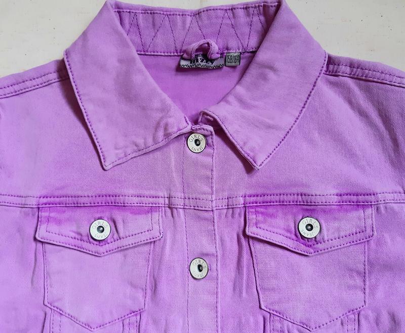 Лилово розовая джинсовая куртка bizzy германия на 13-14лет (15... - Фото 2