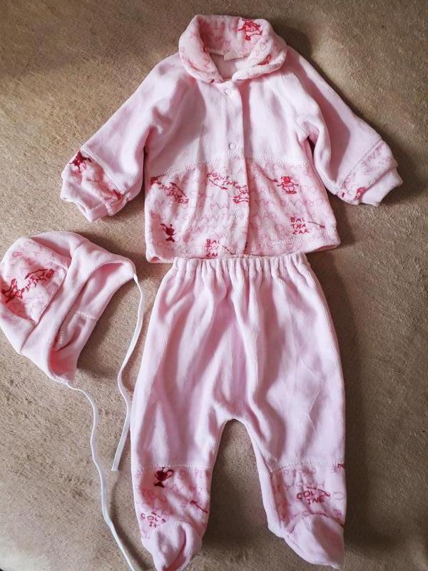 Комплект, костюм велюровый для новорожденного.