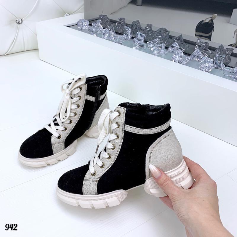 Sale! замшевые осенние ботинки на оригинальной подошве