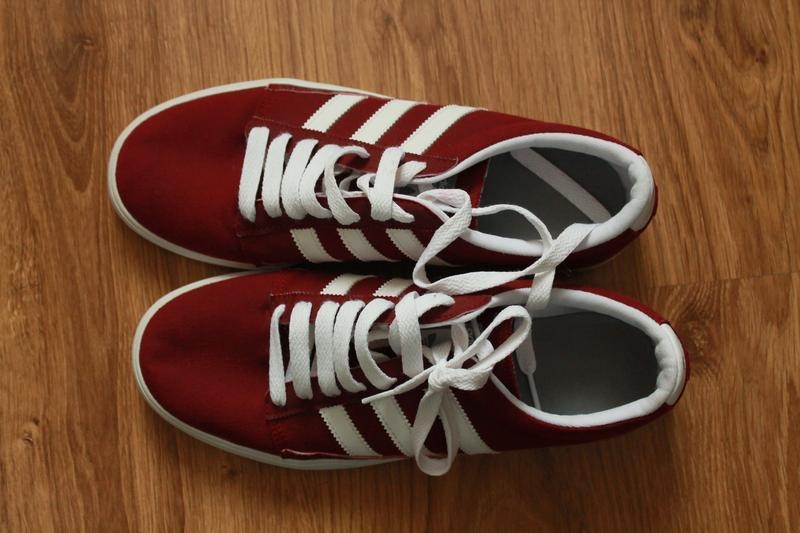 Превосходные мужские легкие кеды бордового цвета adidas - Фото 2