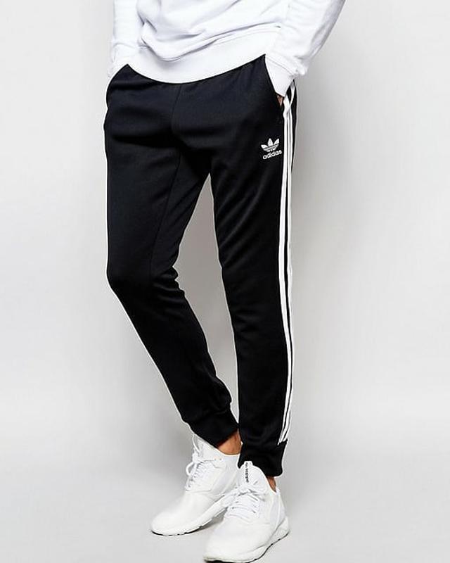 Спортивные штаны Адидас на манжете черные Adidas pants - Фото 3
