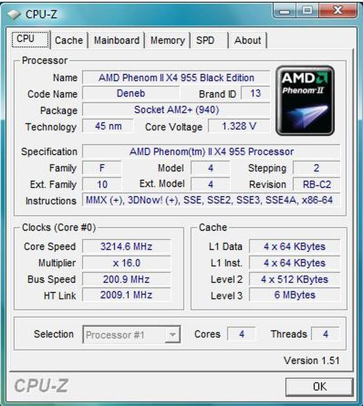 AMD Phenom II X4 955 Black Edition 3200mhz L3-6M  s.AM2+/AM3 про - Фото 3