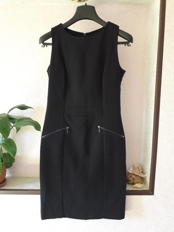 Женское черное нарядное трикотажное офисное платье демисезон о...