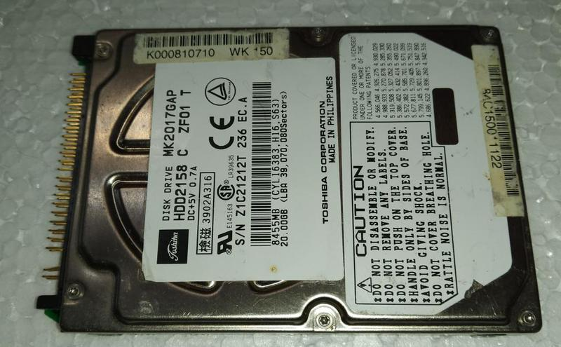 Жесткий диск для ноутбука HDD IDE 2.5 20GB TOSHIBA б/у (Z1C21212T
