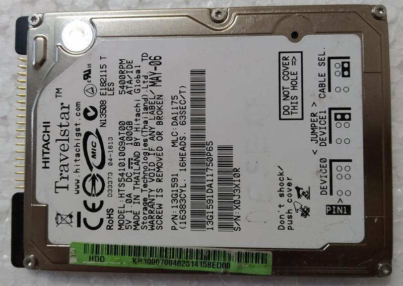 Жесткий диск для ноутбука HDD IDE 2.5 100GB HITACHI б/у X0J3X10R