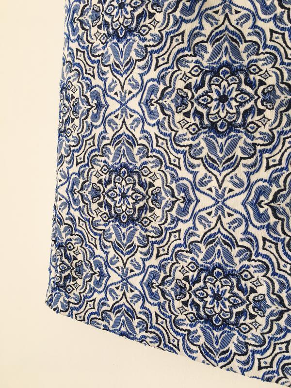 Юбка-трапеция из жаккарда нежно-голубого цвета new look мини ю... - Фото 9