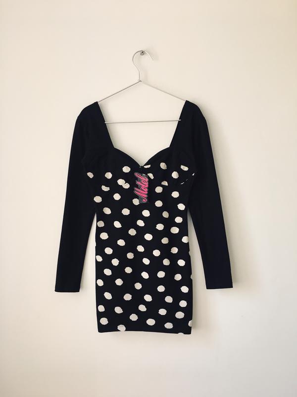 Платье в стиле 80-х motel petite хлопковое черное платье-бюсть...
