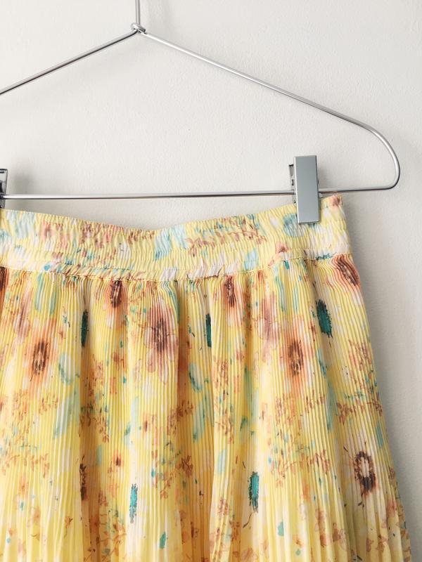 Воздушная нежно-желтая юбка с цветочным принтом pull&bear юбка... - Фото 3