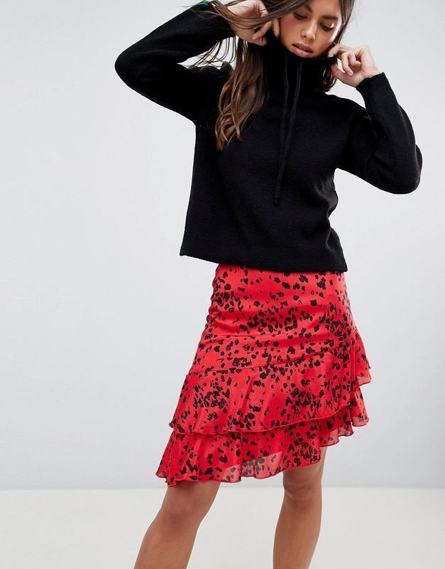 Новая юбка с оборками в актуальный анималистичный принт vila к... - Фото 2
