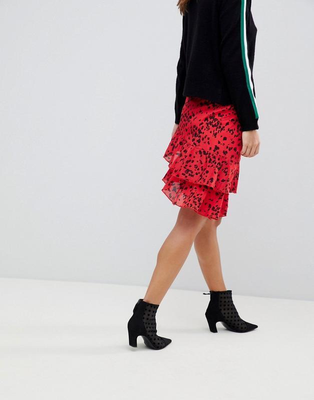 Новая юбка с оборками в актуальный анималистичный принт vila к... - Фото 3