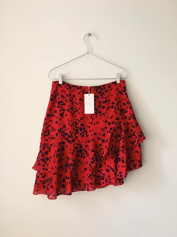 Новая юбка с оборками в актуальный анималистичный принт vila к... - Фото 5