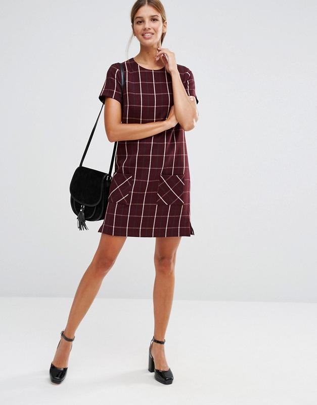 Бордовое платье в крупную клетку asos new look клетчатое винно...
