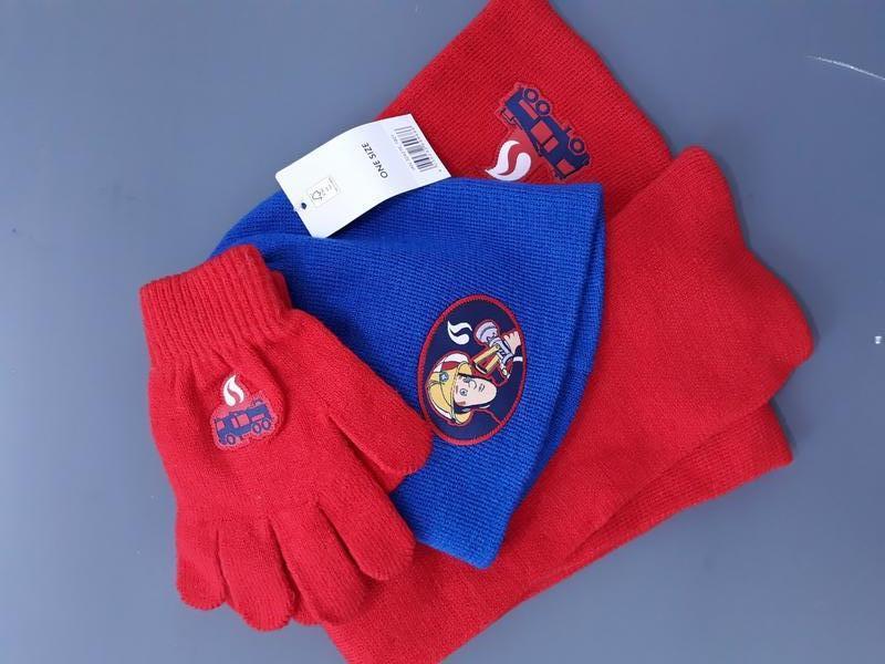 Комплект fire man sam, lidl: шапка, шарф, перчатки