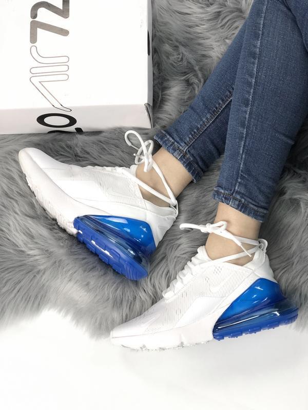 Женские кроссовки найк nike air max 270 white blue - Фото 3
