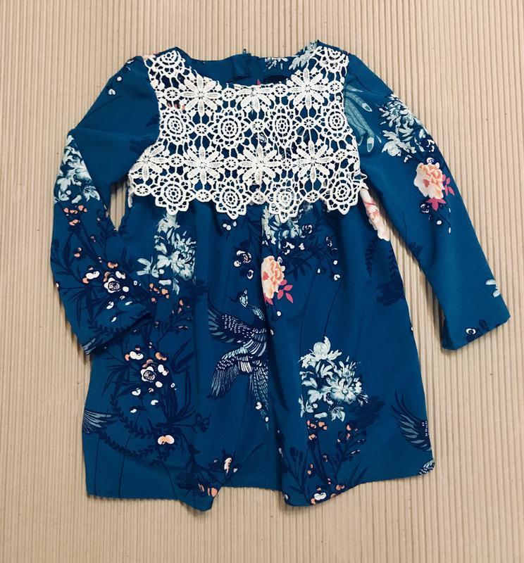 Платье с плетёным кружевом р.116