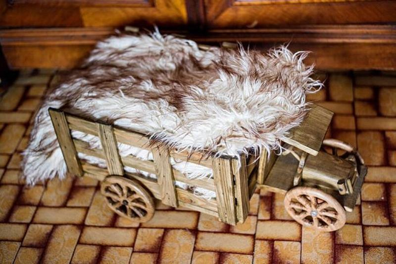 Деревянный грузовик для фотосъемки новорожденных и малышей пос...