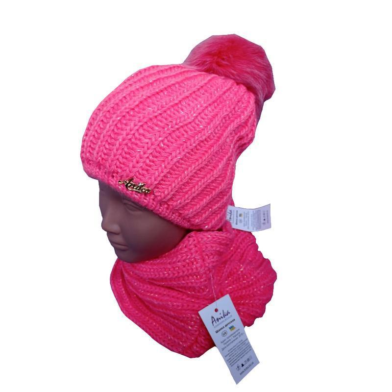 Шапка вязаная детская и снуд для девочки. набор размер 52-54 - Фото 2