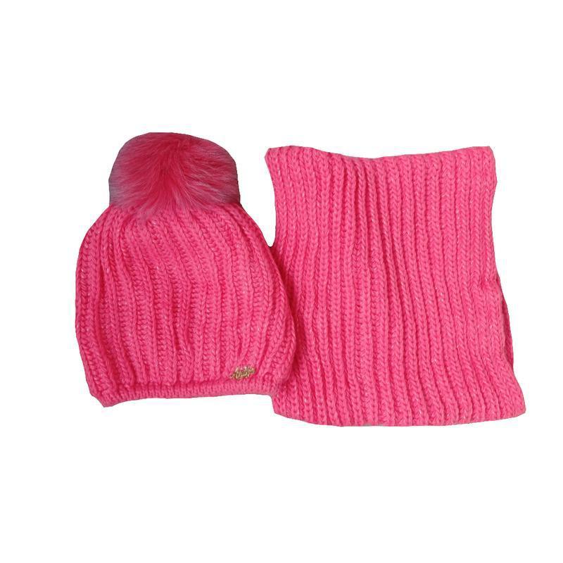 Шапка вязаная детская и снуд для девочки. набор размер 52-54