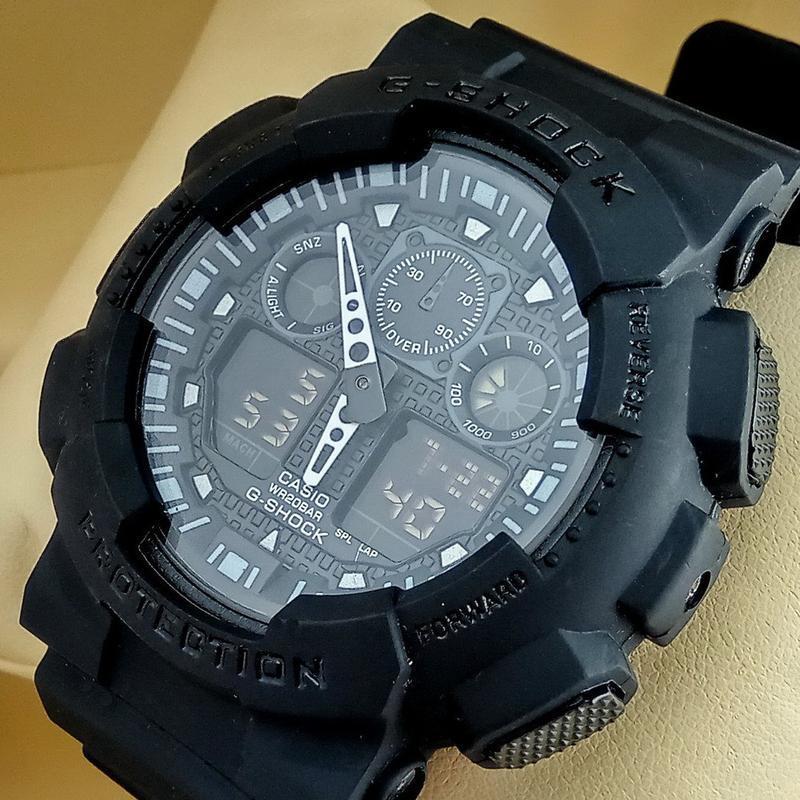 Спортивные наручные часы casio g-shock ga-100 черного цвета с ...