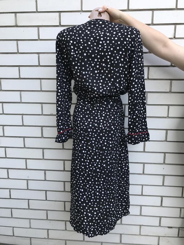 Штапельное,чёрное платье в горохи на запах,вискоза,большой раз... - Фото 7