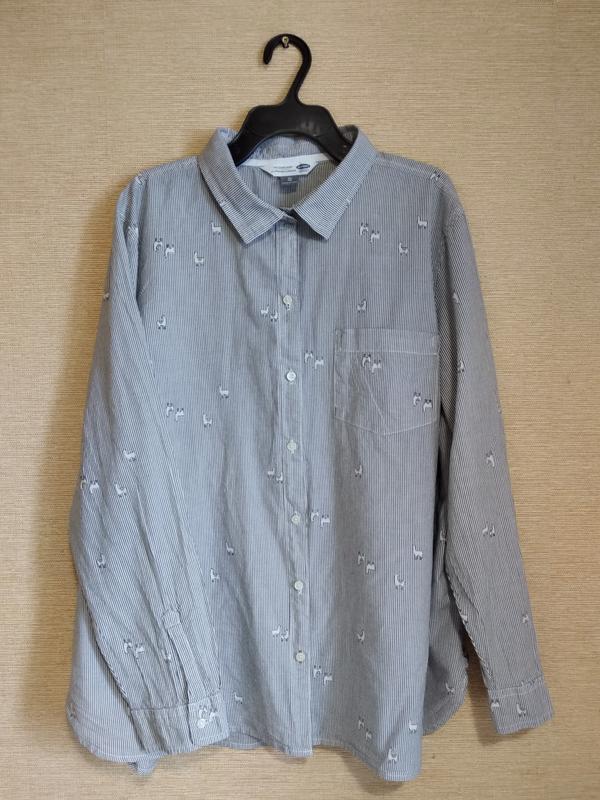 Хлопковая блузка рубашка в серую полоску с принтом