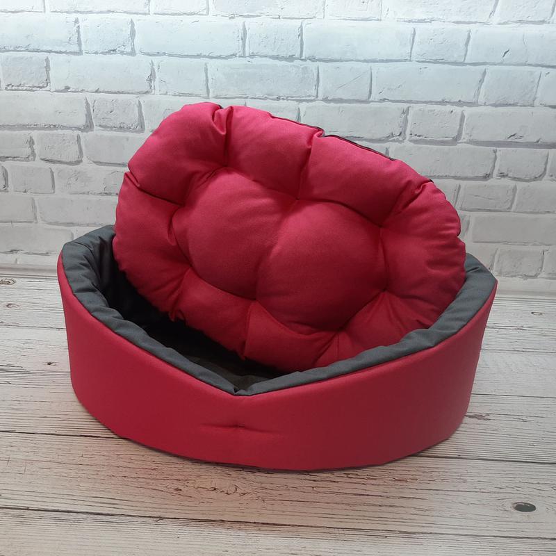 Лежак, лежанка для не крупных собак и кошек. Красный с серым - Фото 3
