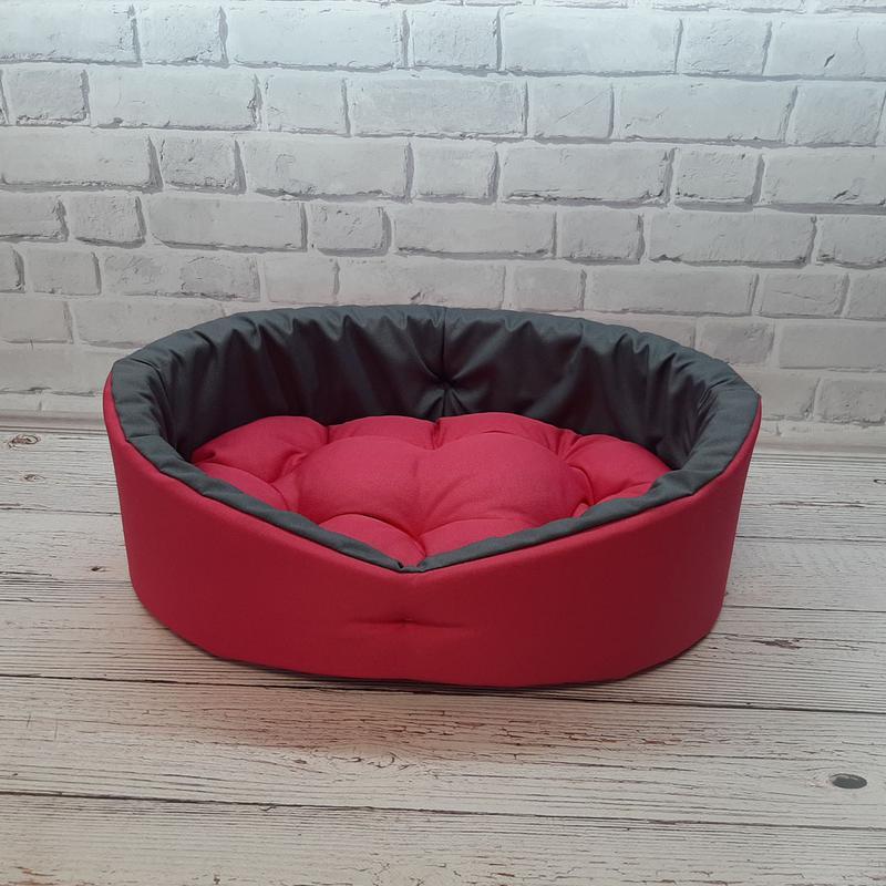 Лежак, лежанка для не крупных собак и кошек. Красный с серым - Фото 2