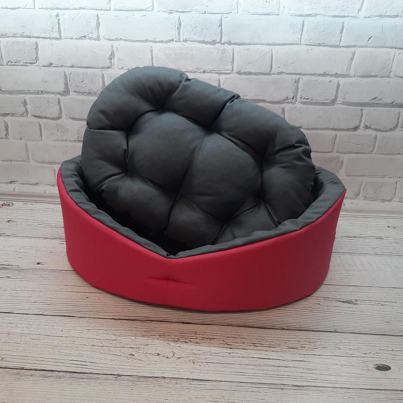 Лежак, лежанка для не крупных собак и кошек. Красный с серым - Фото 5