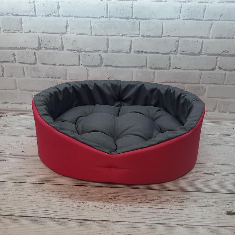Лежак, лежанка для не крупных собак и кошек. Красный с серым - Фото 4