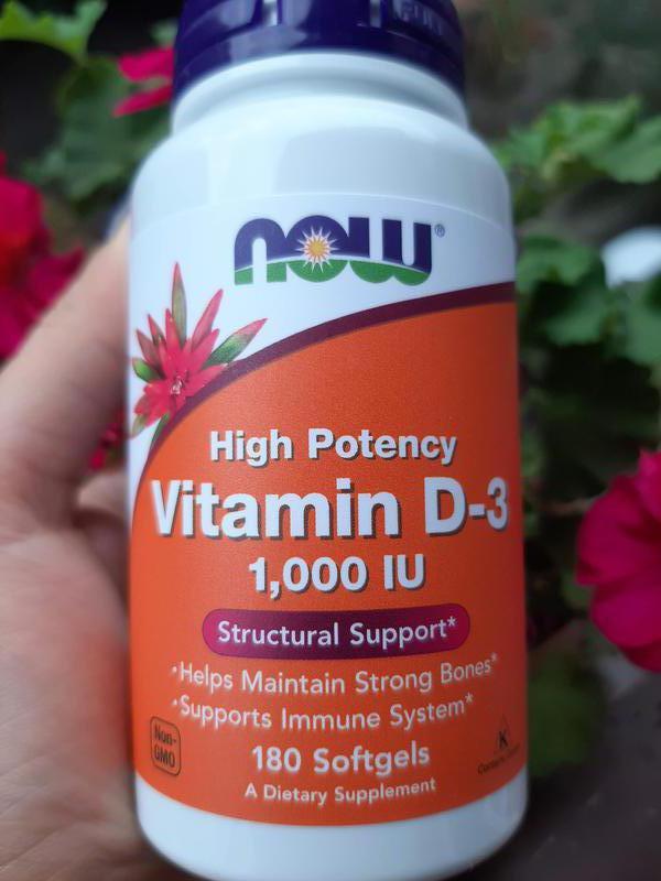 Витамин Д3,Vitamin D-3,Now Foods, 1000МЕ, вітамін Д3,180 шт
