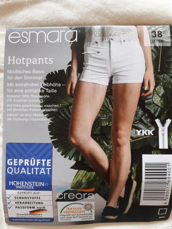 Женские летние котоновые белые шорты высокая посадка esmara