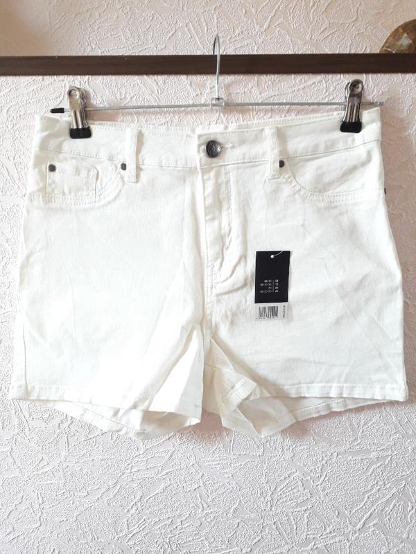 Женские летние котоновые белые шорты высокая посадка esmara - Фото 2