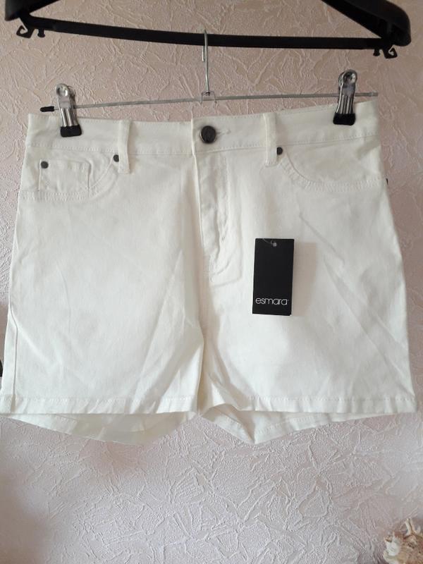 Женские летние котоновые белые шорты высокая посадка esmara - Фото 3